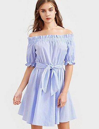 Damen Lose Tunika Kleid-Ausgehen Lässig/Alltäglich Solide Schulterfrei Übers Knie Kurzarm Baumwolle Sommer Mittlere Hüfthöhe