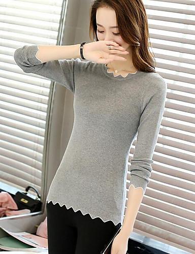 Damen Standard Pullover-Lässig/Alltäglich Solide Rundhalsausschnitt Langarm Acryl Herbst Mittel Dehnbar