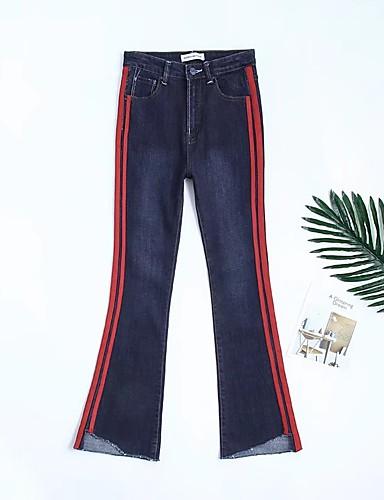 Damen Street Schick Hohe Hüfthöhe Mikro-elastisch Bootcut Jeans Hose Frühling Sommer Herbst Solide Gestreift