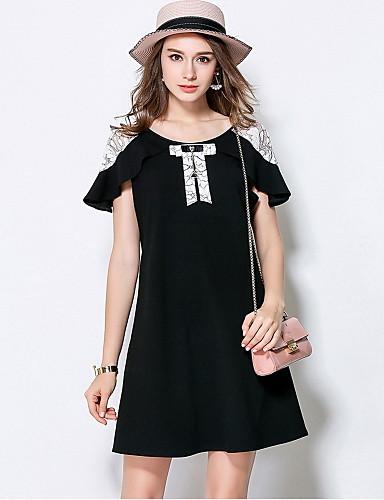 Damen Hülle Kleid-Ausgehen Niedlich Einfarbig Rundhalsausschnitt Übers Knie Kurzarm Polyester Sommer Mittlere Hüfthöhe Mikro-elastisch