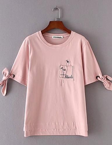 Damen Solide Stickerei Einfach Sexy Street Schick Ausgehen Lässig/Alltäglich T-shirt,Rundhalsausschnitt Sommer Halbe Ärmel Baumwolle