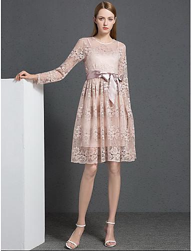 Damen Spitze Kleid-Lässig/Alltäglich Einfach Solide Rundhalsausschnitt Knielang Langarm Polyester Herbst Mittlere Hüfthöhe Mikro-elastisch