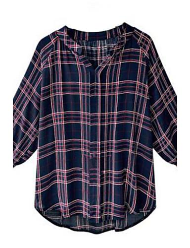 Damen Verziert Hemd, V-Ausschnitt Polyester
