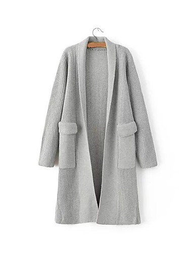 Damen Lang Strickjacke-Ausgehen Lässig/Alltäglich Einfach Niedlich Solide V-Ausschnitt Langarm Baumwolle Frühling Herbst Mittel