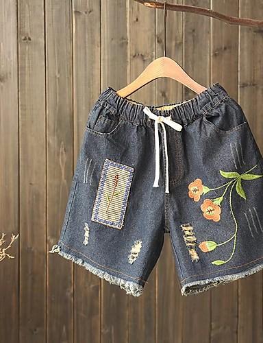 Damen Street Schick Mittlere Hüfthöhe Mikro-elastisch Gerade Lose Kurze Hosen Hose,Baumwolle Leinen Frühling Sommer Herbst Stickerei