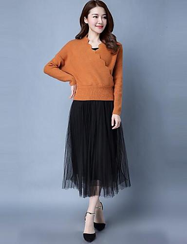 Damen Standard Pullover-Lässig/Alltäglich Solide Rundhalsausschnitt Langarm Baumwolle Andere Frühling Mittel Mikro-elastisch