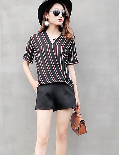 Damen Gestreift Einfach Lässig/Alltäglich T-Shirt-Ärmel Hose Anzüge,V-Ausschnitt Sommer Kurzarm