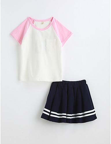 Mädchen Einfarbig Kurzarm Kleidungs Set