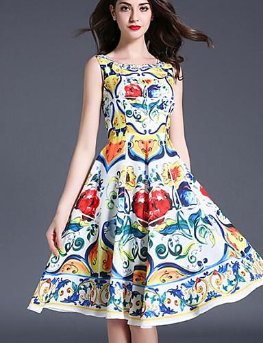 Damen Hülle Kleid-Ausgehen Druck Rundhalsausschnitt Knielang Ärmellos Polyester Sommer Mittlere Hüfthöhe Mikro-elastisch Mittel