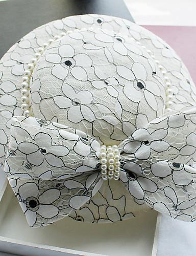 billige Hatte & Imponeringer-Imitert Perle / Lær / Blonde fascinators / Hatter med 1 Bryllup / Spesiell Leilighet / Bursdag Hodeplagg