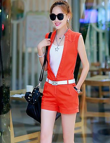 Damen einfarbig Lässig/Alltäglich Einfach Jumpsuit Gerade,Ärmellos Ständer Sommer Baumwolle