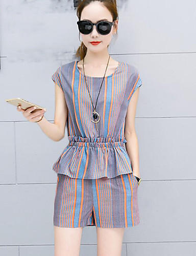 Damen Gestreift Einfach Ausgehen T-Shirt-Ärmel Hose Anzüge,Rundhalsausschnitt Sommer Ärmellos
