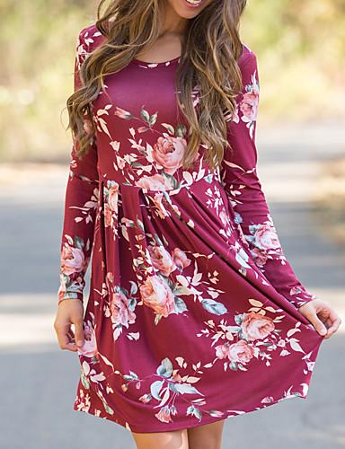 Women's Cute Swing Dress Print High Rise