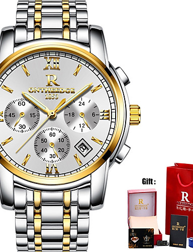 Men's Sport Watch / Military Watch / Wrist Watch Japanese Calendar / date / day / Water Resistant / Water Proof / Creative Stainless Steel Band Charm / Luxury / Casual Black / Silver / Gold