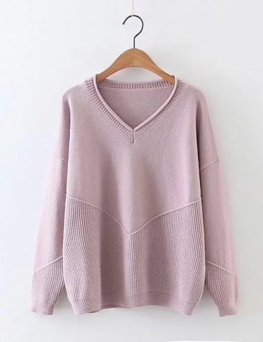 Damen Standard Pullover-Ausgehen Lässig/Alltäglich Einfach Solide V-Ausschnitt Langarm Andere Frühling Herbst Dünn Mittel Mikro-elastisch