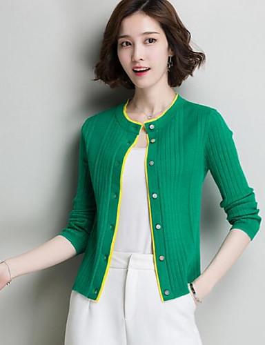 Damen Kurz Pullover-Lässig/Alltäglich Solide Druck Rundhalsausschnitt Langarm Baumwolle Andere Sommer Dünn Mikro-elastisch