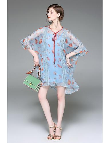 Damen Swing Kleid-Ausgehen Niedlich Druck Rundhalsausschnitt Übers Knie 3/4 Ärmel Polyester Sommer Mittlere Hüfthöhe Mikro-elastisch