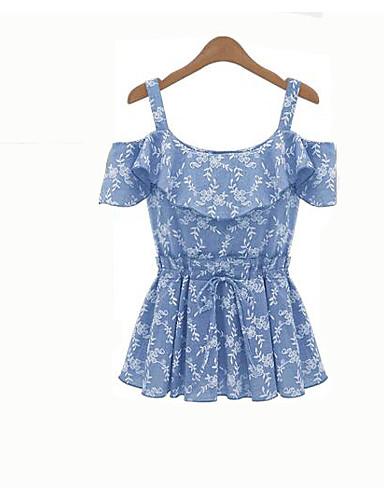Damen Blumen Einfach Lässig/Alltäglich T-shirt,Schulterfrei Frühling Kurzarm Acryl Undurchsichtig