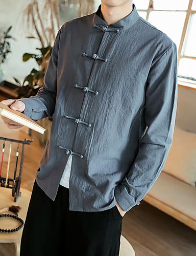 Kínai Álló gallér Vékony Férfi Extra méret Pamut Ing - Egyszínű