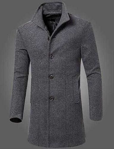 c06b0f49c3 Hétvége Egyszerű Alkalmi Vékony Férfi Hosszú Kabát-Egyszínű 6229735 ...