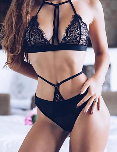 Női Sexy Ruhák Ultra szexi Hozzáillő topok Csipke fehérnemű Hálóruha Egyszínű