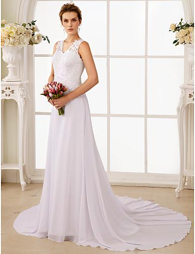 A-라인 V 넥 코트 트레인 쉬폰 레이스 사용자 정의 웨딩 드레스 와 비즈 아플리케 으로 LAN TING BRIDE®