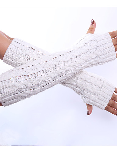 Women's Winter Gloves Elbow Length Half Finger Gloves - Solid Colored