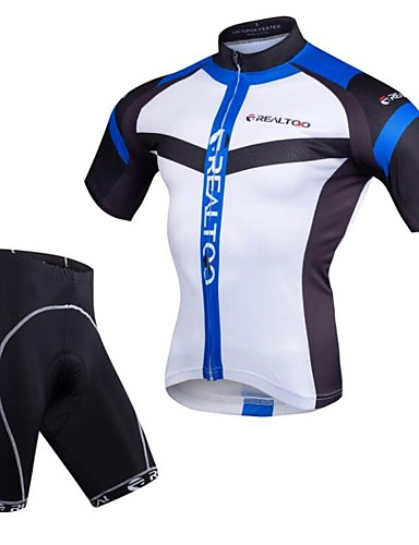 cheap Cycling Clothing-Realtoo Men's Short Sleeve Cycling Jersey with Shorts - Black / Red Blue / White Bike Clothing Suit 3D Pad Quick Dry Sports Spandex Mountain Bike MTB Road Bike Cycling Clothing Apparel / Stretchy
