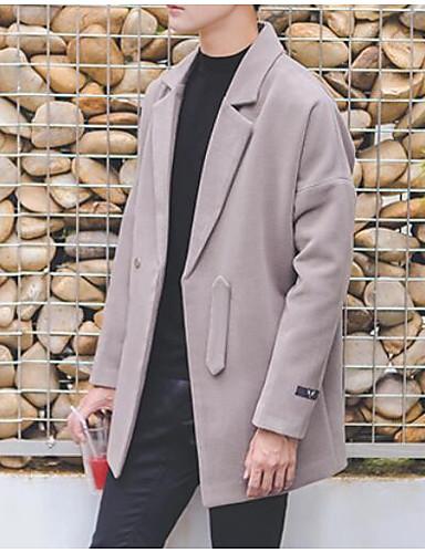 Hombre Simple Casual/Diario Otoño Invierno Abrigo,Solapa de Pico Un Color Manga Larga Algodón Regular
