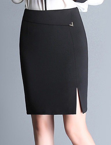 Women's Plus Size Pencil Skirts - Solid Colored