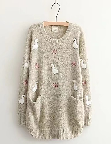 Women's Going out Cute Long Sleeves Cotton Loose Long Pullover - Solid Colored, Embroidered