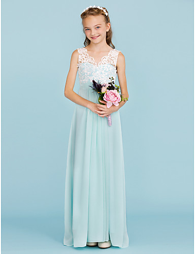 Sheath / Column V Neck Floor Length Chiffon / Lace Junior Bridesmaid Dress with Sash / Ribbon / Pleats by LAN TING BRIDE® / Wedding Party / Open Back / Color Block