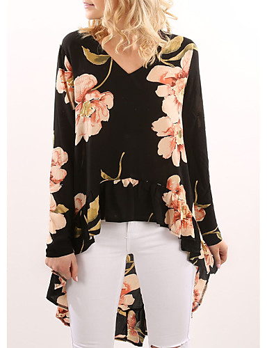 Women's Blouse - Floral Ruffle V Neck / Spring / Fall
