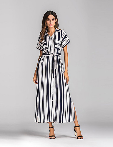 Women's Street chic Loose Dress - Striped, Split Maxi Shirt Collar