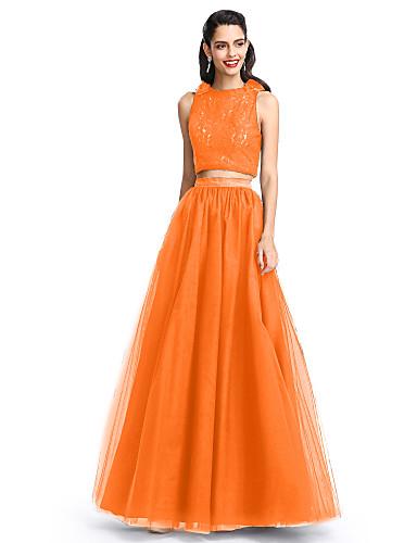 billige Todelte kjoler-A-linje Besmykket Gulvlang Blonder / Tyll To deler Cocktailfest / Skoleball / Formell kveld Kjole med Plissert av TS Couture®