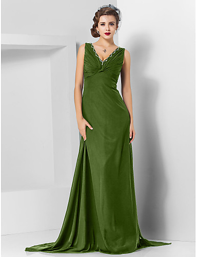 d7428f2e6c960 عامودي V رقبة ذيل مثل الفرشاة شيفون حفلة رسمية فستان مع حصى بواسطة TS  Couture®