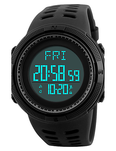 SKMEI Men's Sport Watch Wrist Watch Digital Watch Japanese Digital 50 m Water Resistant / Water Proof Alarm Calendar / date / day PU Band Digital Luxury Casual Black / Green - Black Green / Luminous