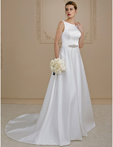 A-Line / Princess Scoop Neck Court Train Satin Made-To-Measure Wedding Dresses with Beading / Buttons / Sashes / Ribbons by LAN TING BRIDE® / Open Back