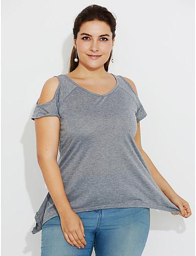 billige Dametopper-Bomull Løstsittende Løse skuldre Store størrelser T-skjorte Dame - Ensfarget, Dusk Militærgrønn / Havfrue / Sommer / Sexy