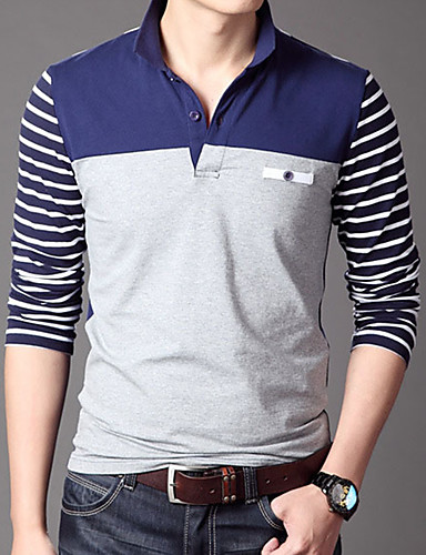 Men's Work Cotton Polo - Solid Colored Shirt Collar / Long Sleeve