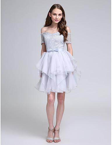 נשף בטו צוואר באורך  הברך תחרה שמלה לשושבינה  עם פפיון(ים) על ידי LAN TING BRIDE®