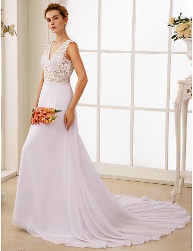 A-vonalú V-alakú Udvari uszály Sifon Sheer Csipke Egyéni esküvői ruhák val vel Csipke által LAN TING BRIDE®