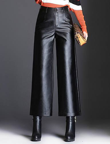 Women's Plus Size Wide Leg Pants - Solid Colored High Rise