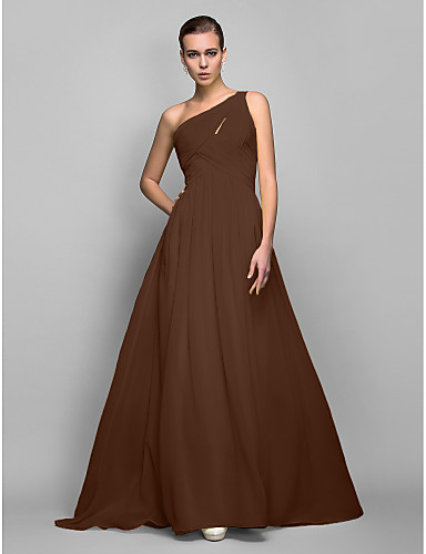cheap Evening Dresses-Sheath / Column One Shoulder Sweep / Brush Train Georgette Open Back Cocktail Party / Prom / Formal Evening Dress with Criss Cross / Ruched by TS Couture®
