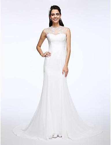 A-라인 환상 목걸이 코트 트레인 쉬폰 레이스 웨딩 드레스 와 아플리케 으로 LAN TING BRIDE®