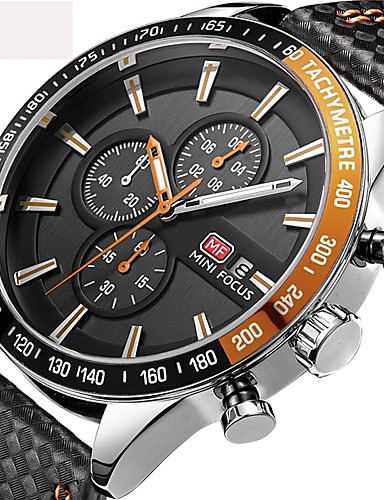 Men's Sport Watch Military Watch Wrist Watch Japanese Quartz 30 m Water Resistant / Water Proof Calendar / date / day Chronograph Genuine Leather Band Analog Charm Luxury Casual Black - Black Red Blue