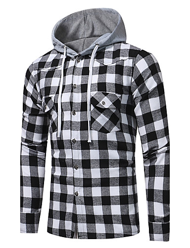 Men's Active / Street chic Cotton Shirt - Plaid Print Hooded / Long Sleeve