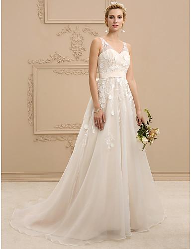 A-vonalú / Hercegnő V-alakú Udvari uszály Organza / Virágos csipke Made-to-measure esküvői ruhák val vel Csokor / Selyemövek / Szalagok által LAN TING BRIDE® / Színes menyasszonyi ruhák / Open Back