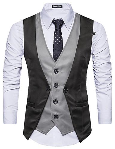 voordelige Heren T-shirts & tanktops-Heren Singlet Wol, Feest Kleurenblok Overhemdkraag Rood / Mouwloos
