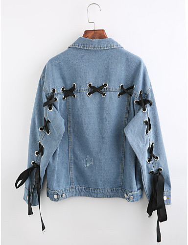 Women's Going out Winter Regular Denim Jacket, Solid Colored Shirt Collar Long Sleeve Cotton Blue S / M / L